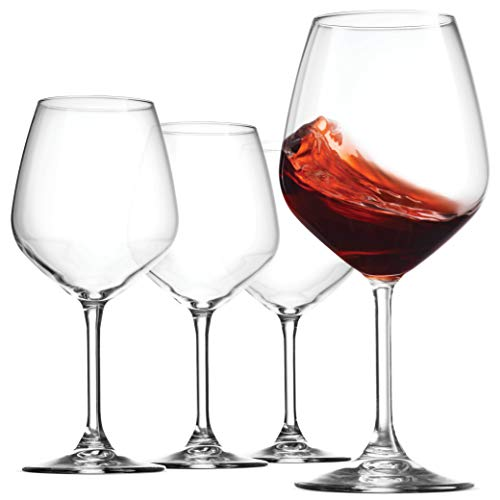 Bormioli Rocco 18oz Red Wine Glasses, Crystal Clear Star Glass, Laser Cut Rim For Wine Tasting, Elegant Party Drinking Glassware, Restaurant Quality (Set of 4)
