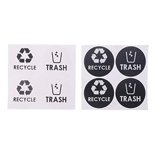 niumanery Recycling vuilnispictogram vinyl sticker sticker voor vuilnisemmer vuilnisbak huisdecoratie cadeau