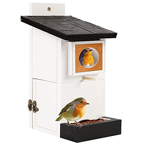 Zcaukya Bird Feeder House, Natural Wooden Bird House with Refillable Feeder for...