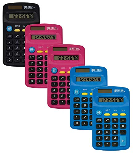 Pocket Size Mini Calculators, 5 Pack, Handheld Angled 8-Digit Display, by Better Office Products, Standard Function, Assorted Colors (Blue, Black, Pink), Dual Power with Included AA Battery Power