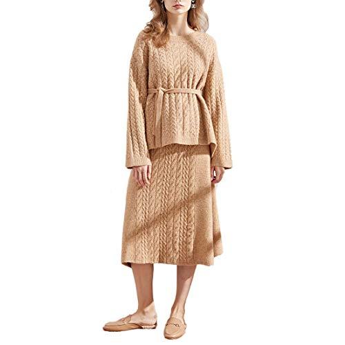 Yuyudou Gebreide truien en rok pak voor vrouw, Effen Gekleurde Trui, Lange mouwen Chunky Gebreide Jumper voor winter/herfst