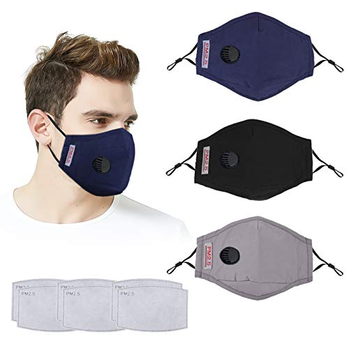 Face Mask with Breathing Valve,Face Mask Cotton Washable Cloth Face Mask Reusable Face Masks Washable with Adjustable Ear Loops Safety Filter Masks - 3 Masks + 6 Activated Carbon Filters