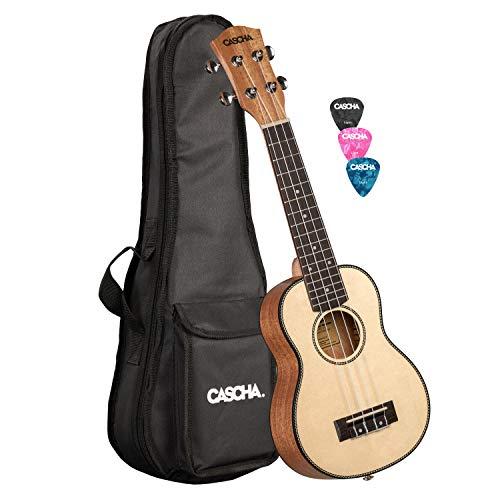 CASCHA Sopran Ukulele, Massive Fichtendecke, Solid Top, Hawaii Gitarre Set mit Aquila-Saiten, Zubehör, und 3 Plektren