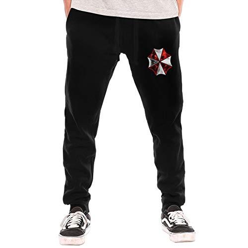 Savira Mens Drawstring Running Joggers Casual Pants Resi-Dent Evil Workout Sweatpants with Pockets Black