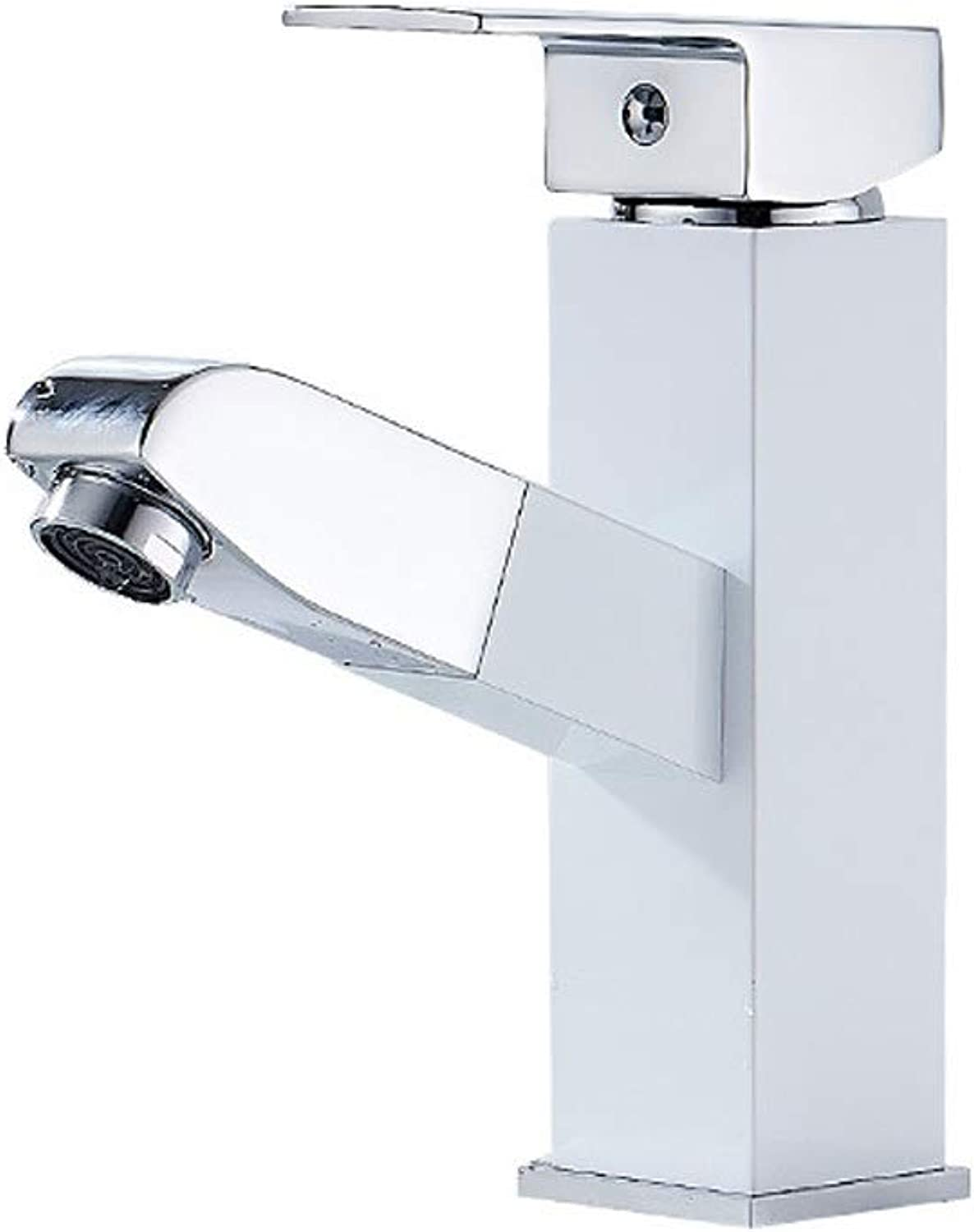 Fanxu Pull-Out Bathroom Basin Faucet Copper Hot and Cold Mixing Faucet (7 colors 2 Sizes) (color   Silver colorA)