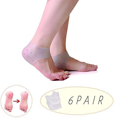 Fersenärmel, Silikon-Fersenschutz, atmungsaktive schützende Silikongel-Socken reduzieren den Druck auf die Ferse, sehr gut geeignet für Fersenschmerzen, Plantarfasziitis-Pad, rissige Fersen(6 Paare)