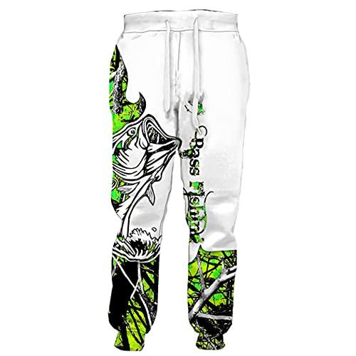 EDSNHG Pantalones de impresión de pesca 3D, pantalones de Hip Hop para hombre, pantalones de deporte Harajuku, Pantalones 2, XXXXL