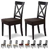 SCHEFFLER-Home Marie 2 Fundas para Asiento de sillas, Estirable Cubiertas hidrófugo, Funda con Banda elástica, Marrón