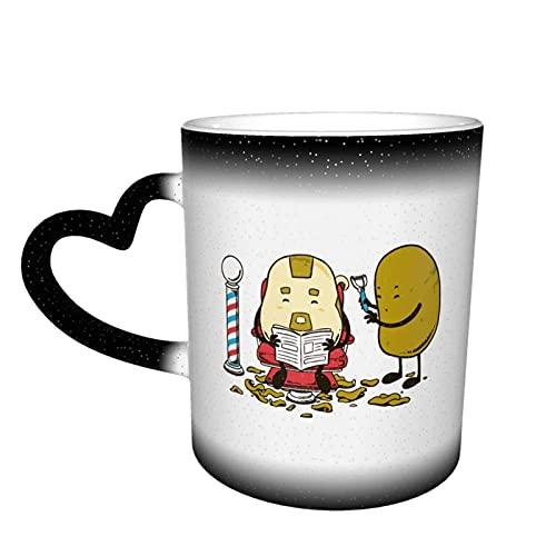 Oaieltj Taza cambiante de calor, divertido corte de pelo de patata personalizado calor sensible taza de café taza de té de leche tazas de café mágico tazas de corte