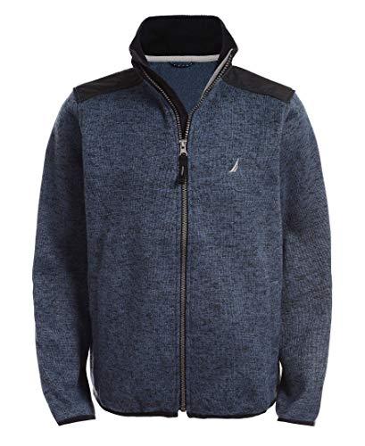 Nautica Boys' Big School Uniform Full-Zip Fleece Jacket, Micah Navy, Large-14/16