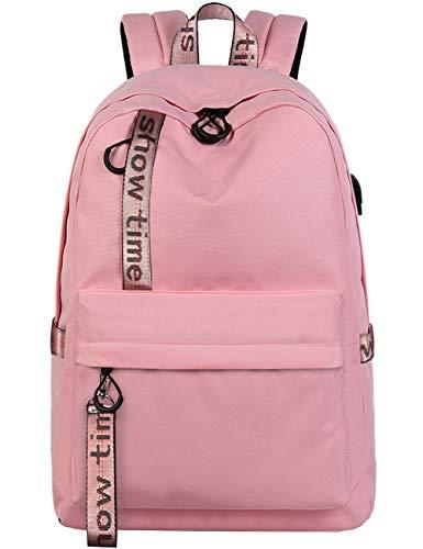 Mygreen Schultasche Rucksack für Teenager Mädchen und Studierende Rucksack geeignet für 15.6 Zoll Laptop/Notebook Fashion Stickerei Rucksack Casual Daypacks mit USB Ladeanschluss – Pink