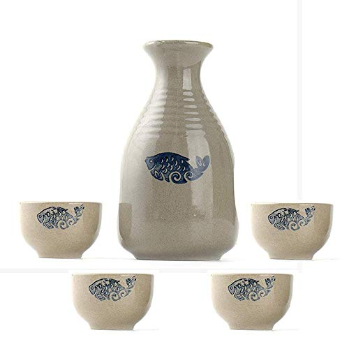 AABBC Sake Set, 5 Piece Sake Cup Set, Traditional Hand Painted Quaint Fish pattern Design, for Cold/Warm/Shochu/Tea Best Gift for Family and Friends