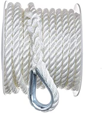SEACHOICE 3 Strand Twisted Nylon Anchor Line 3 8 x 50 40691 White product image