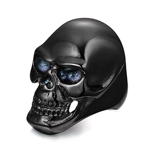 Gudeke Acero banda anillo Negro gótico del cráneo de la vendimia para hombre del motorista del hueso inoxidable (19(18,79mm))
