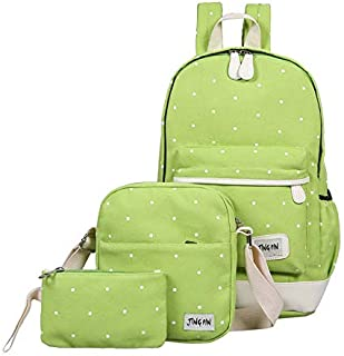 Y&D 3pcs backpack for girls and kids green color