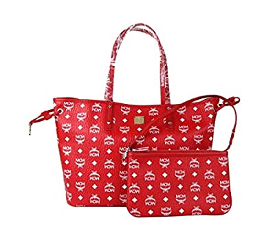 MCM Red White Reversible Visetos Monogram Tote With Pouch MWP8AVI62RV001 by MCM