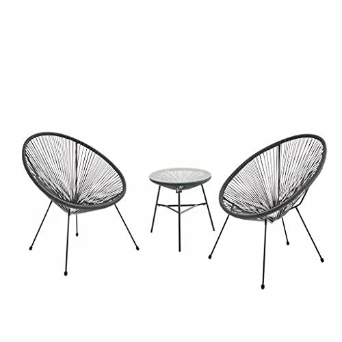 Alice's Garden Lot de 2 fauteuils Acapulco Forme d'oeuf avec Table d'appoint - Noir - Fauteuils 4 Pieds Design rétro. avec Table Basse. Cordage Plastique. intérieur/extérieur