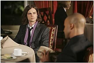 Criminal Minds Matthew Gray Gubler as Spencer with Shemar Moore as Derek sitting in restaurant 8 x 10 Inch Photo