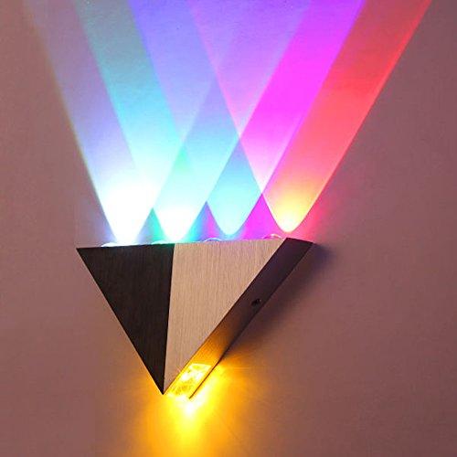 OurLeeme Luz de pared LED, 5W luces de pared modernas de aluminio con triángulo LED Iluminación para interiores (5 colores)