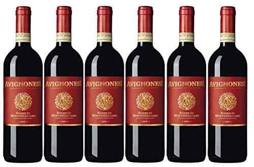 Avignonesi Rotwein aus Italien Weinpaket Rosso di Montepulciano IT BIO 004 * 2017 (6 x 0,75 Liter)