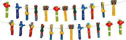1780 éPinces à linge Animaux en bois coloré, jouets pour enfants, 24 pièces, à partir de 3 ans