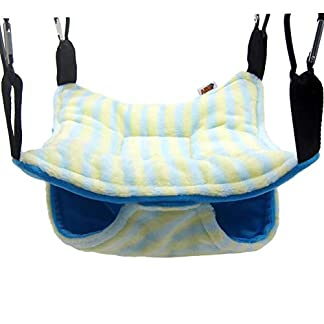 """Alfie Pet - Mallory Hanging Hammock Bed for Mouse, Chinchilla, Rat, Gerbil and Dwarf Hamster - Color: Blue, Size: Medium 9"""" x 9"""" 12"""