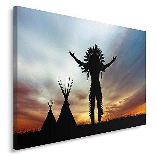 Feeby. Cuadro en lienzo - 1 Parte - 60x80 cm, Imagen impresión Pintura decoración Cuadros de una pieza, INDIO NATIVO AMERICANO, NEGRO