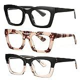 Bullabulling Retro Square Reading Glasses For Women Men Fashion Oversized Frame Large lens 2.05inches (black/tortoise/blackpink, 1.0)
