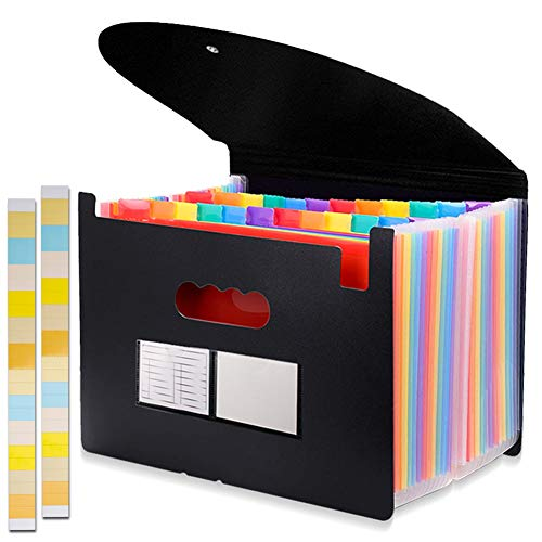 24 Pockets Expanding File Folder with Cover Accordian File Organizer Portable A4 Letter Size File Box,High Capacity Plastic Colored Paper Document Organizer Filing Folder Organizer