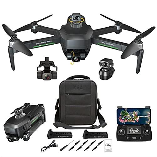 Drones GPS con cámara de 4K HD para adultos, Drone Quadcopter UAV 5G WiFi FPV, Drone GPS con Gimbal de 3 ejes, RC Drone 360DEG;Evitación automática de obstáculos, con 2 baterías 50x Zoom VR ex