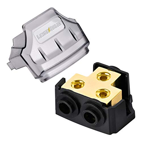 LEIGESAUDIO 0/2/4 Gauge in 0/2/4 Gauge Out Copper Power Distribution Block for Car Audio Splitter(1 in 2 Out)