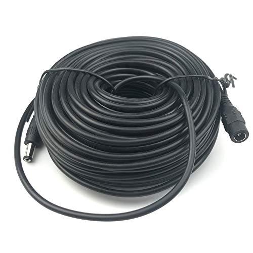 Vanxse - Cable alargador DC (20 m, 2,1 mm x 5,5 mm, compatible con cable adaptador CC de 12 V, para cámaras de seguridad CCTV, cámaras IP, DVR), color negro