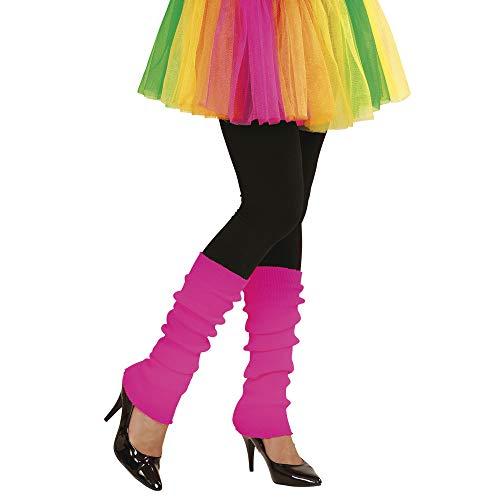 Widmann 05826 - Beinstulpen, neon-pink, Beinwärmer, 80er Jahre, angenehmer Tragekomfort, Zubehör für Assi Anzug, Bad Taste Party, 80ties, Karneval