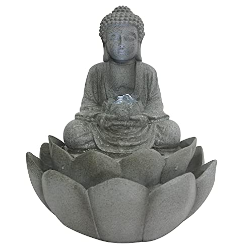 Gr8 Home Zen Buddhism Buddha Lotus Flower Water Feature Fountain LED Lights...