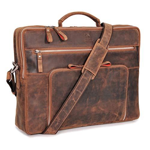 DONBOLSO® Laptoptasche San Francisco 17 Zoll Leder I Umhängetasche für Laptop I Aktentasche für Notebook I Tasche für Damen & Herren (Braun)