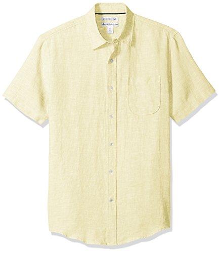 Amazon Essentials - Camisa de lino a rayas, de manga corta y corte entallado para hombre, Amarillo, US S (EU S)