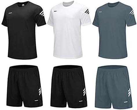 BUYJYA Men s Active Athletic Shorts Shirt Set 3 Pack for Workouts Basketball Football Exercise product image