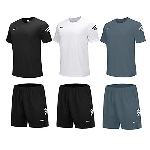 BUYJYA Men's Active Athletic Shorts Shirt Set 3 Pack for Workouts Basketball Football Exercise Training Running (3PACK(Black/White/Grey), XL)