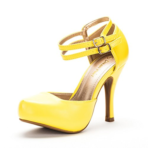 DREAM PAIRS Office-02 Women's Classy Mary Jane Double Ankle Strap Almond Toe High Heel Pumps New Yellow Pu Size 8
