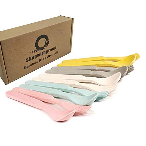 Juego de cucharas y tenedores de bambú para niños para la alimentación del bebé - Paquete de utensilios de vajilla para niños, apto para lavavajillas - Vajilla natural, sin plástico, juego de 10