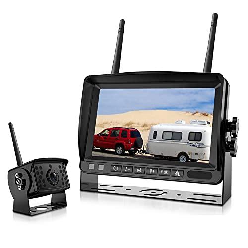 Digital Wireless Backup Camera System, LASTBUS Waterproof Night Vision Wireless Rear View Camera + 7'' LCD Reversing Monitor for RV, Trailer, 5th Wheel, Pickup Truck