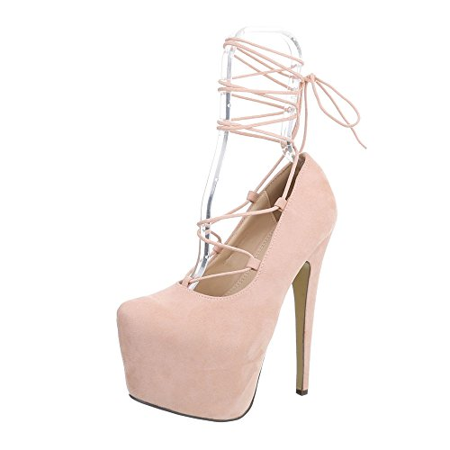 Ital-Design High Heel Pumps Damen-Schuhe High Heel Pumps Pfennig-/Stilettoabsatz High Heels Schnürsenkel Pumps Pink, Gr 36, Xk-0021-