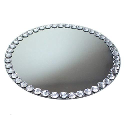 Floral-Direkt Spiegel 30cm rund Diamantrand 17mm Spiegeluntersetzer Spiegelplatte Spiegelteller Teller