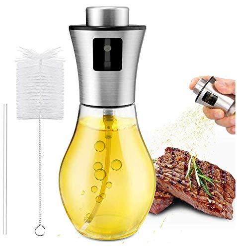 Gifort Olio Spruzzatore, Dispenser per Spruzzatore di Olio,Portable Olio Aceto Oliva Nebulizzatore Olio Cucina in Vetro per BBQ, Insalata, Pane di Cottura, Cucina.(200ml)