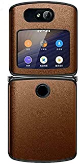 For Motorola Razr 5G Luxury Genuine Vegan Leather Hybrid Hard PC Case Cover U S (Brown)