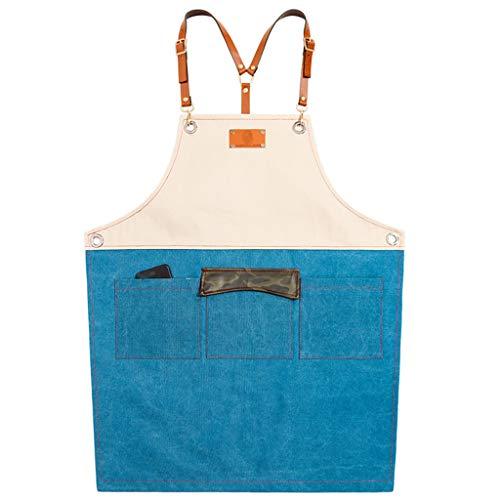 HUANPIN werkschort voor heren met tassen, vrouwen   schort met verstelbare riem voor tuin, restaurant, barbecue   geschenken personaliseerbaar met uw logo en naam