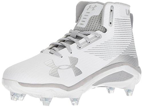 Under Armour Men's Hammer Detachable Football Shoe, White (102)/Metallic Silver, 11