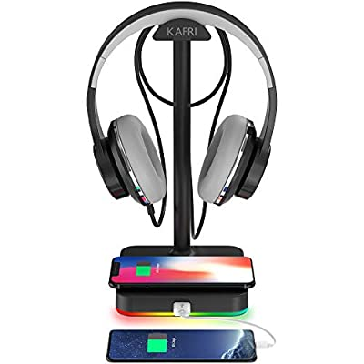 KAFRI RGB Headphone Stand with Wireless Charger Desk Gaming Headset Holder Hanger Rack with 10W/7.5W QI Charging Pad and QC 3.0 USB Port - Suitable for Gamer Desktop Table Game Earphone Accessories from KAFRI