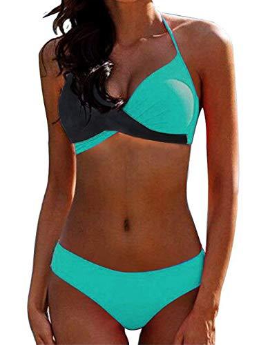 CheChury Damen Bademode Push Up Bikini Set Zweiteilige Badeanzug Strandkleidung Crossover Neckholder Triangel Oberteil Bikinihose Sexy Halter,Grün,XL