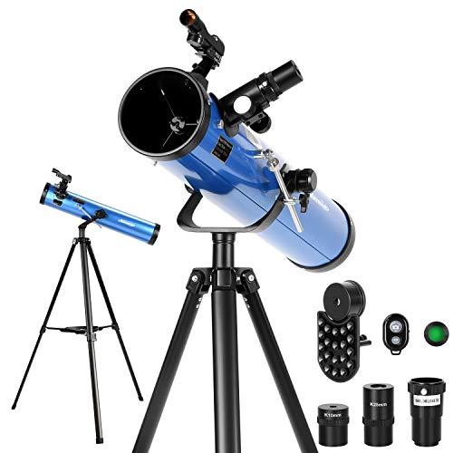 Aomekie Spiegelteleskop 76/700 Reflektor Teleskop Astronomie mit Bluetooth Handy Adapter Stativ Mondfilter und 3X Barlow